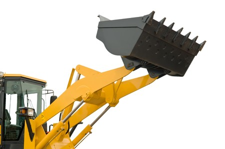 risen new loader excavator scoop shovel isolated photo