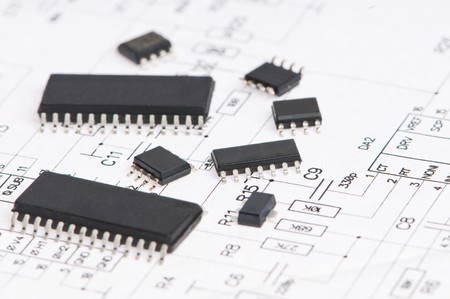 microelectronics: several integrated microelectronics components on microcircuit diagram drawing Stock Photo