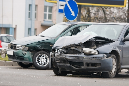 Two car crash accident on a road in city Stock Photo - 8202903