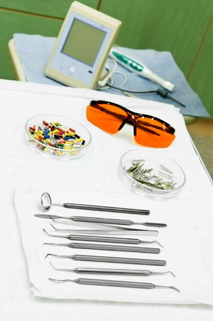 stomatology equipment and set of medical metal orthodontic tools for dental surgeon Stock Photo - 8202894