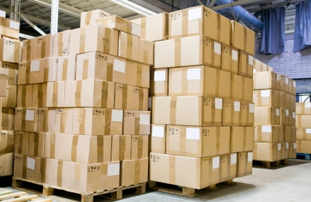 product packaging: rack stack arrangement of cardboard boxes in a store warehouse
