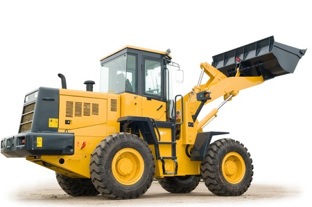 One Loader excavator construction machinery equipment isolated photo