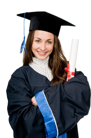 cap and gown: Young smiling graduate girl student in gown looking frankly isolated
