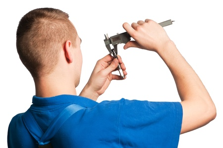 worker in uniform measuring drill tool with caliper isolated  Stock Photo - 22801437