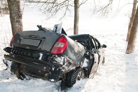 car crash accident at snow road in winter Stock Photo - 9369082