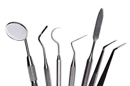 scratcher: set of dental care instruments Stock Photo