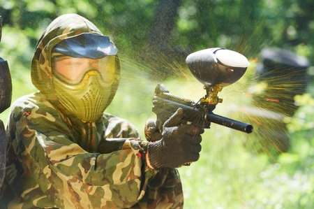 paintball player direct hit photo
