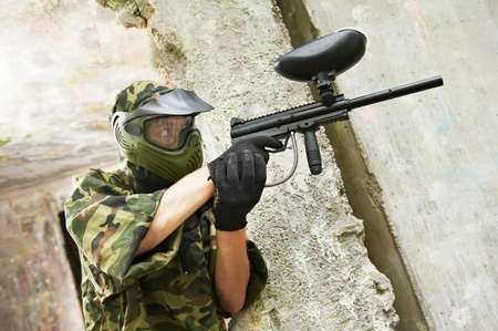 paintball player under cover Stock Photo - 9920676