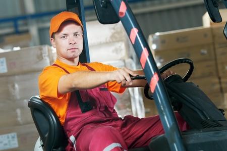 handling: warehouse forklift loader worker