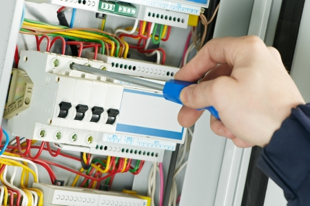 electrical panel: close-up of Electrician work