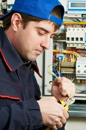 manual test equipment: Electrician at work