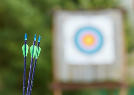 Archery equipment - arrows and target photo