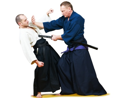 aikido: Sparring of two jujitsu fighters