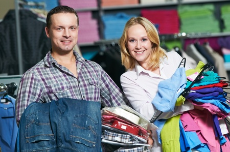 Young couple at clothes shopping Stock Photo - 10395140