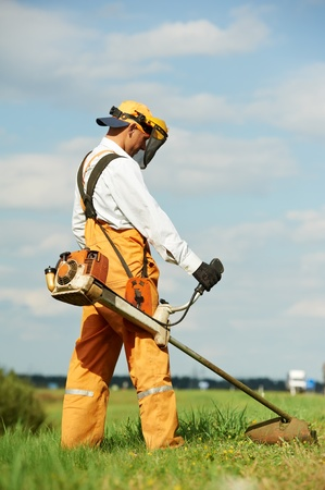 Grass trimmer works Stock Photo - 10443148