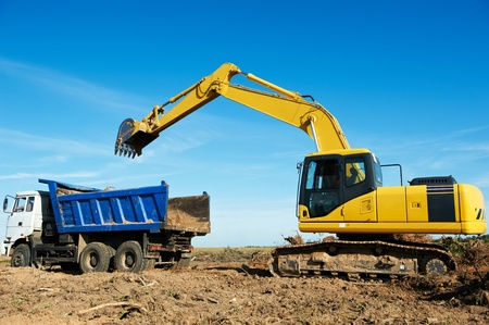 sand quarry: excavator loader at work Stock Photo