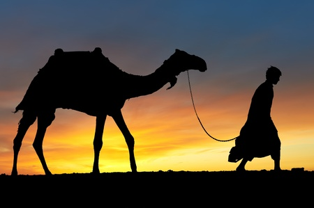 nomad: Silhouette of Arab with camel at sunrise