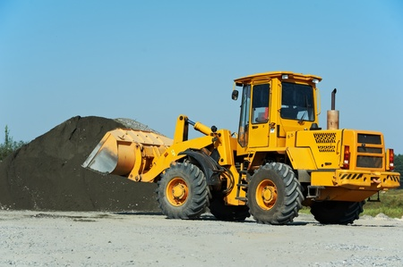 wheel loader: heavy construction loader Stock Photo
