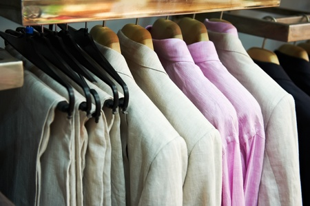 coat rack: clothes on hanger in shop Stock Photo