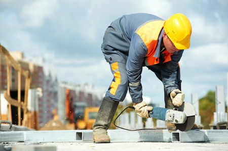 builder working with cutting grinder Stock Photo - 10616053