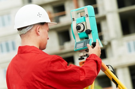 surveyor works with theodolite Stock Photo - 10616057