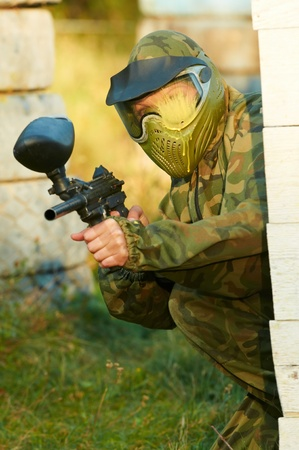 paintball player head shot Stock Photo - 10668907