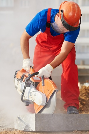builder at cutting curb work Stock Photo - 10698150
