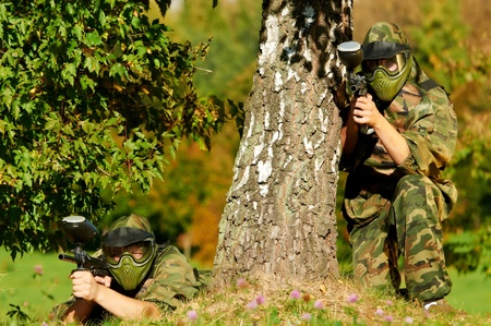 two paintball players Stock Photo - 10697829