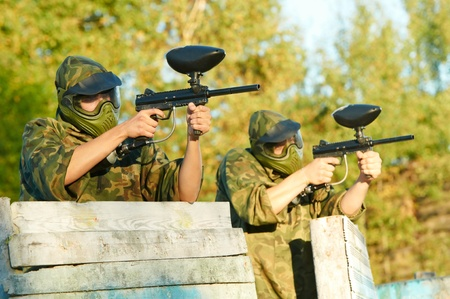 two paintball players Stock Photo - 10698020