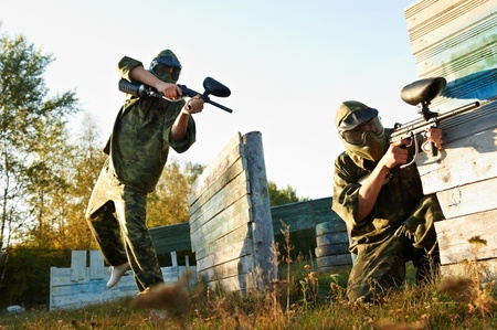 paintball player under attack Stock Photo - 10698047