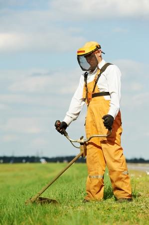 lawn mower: Grass trimmer works