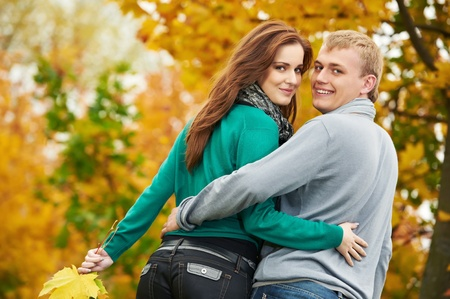 september 2: Couple at autumn outdoors