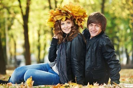 Couple at autumn outdoors Stock Photo - 10815987