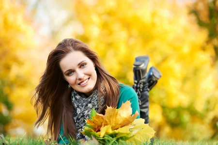 person outside: Woman at autumn outdoors