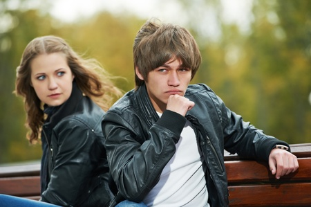 faithlessness:  young couple in stress relationship  Stock Photo
