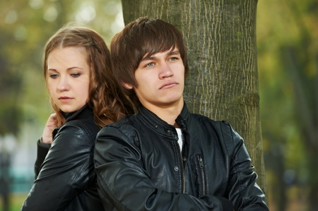 trouble:  young couple in stress relationship  Stock Photo