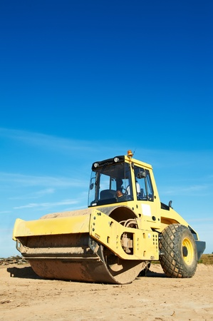 roller compactor: Compactor at road compaction works