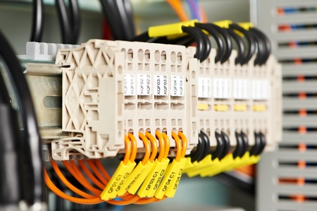 control panel: electrical fuseboxes and power lines switchers