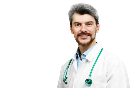 overall: smiling doctor in white overall with stethoscope