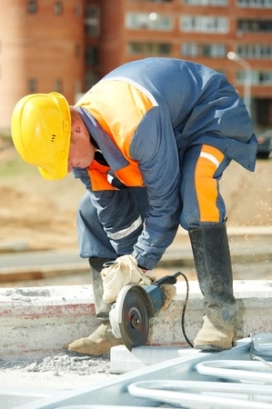 builder working with cutting grinder Stock Photo - 11006376