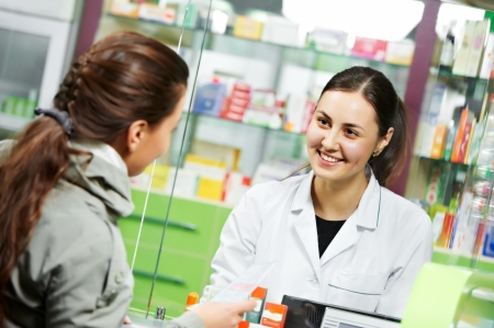 pharmacist: medical pharmacy drug purchase Stock Photo