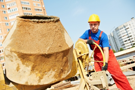 foremaster: builder worker at construction site Stock Photo