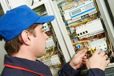 electrician tools: Electrician at work