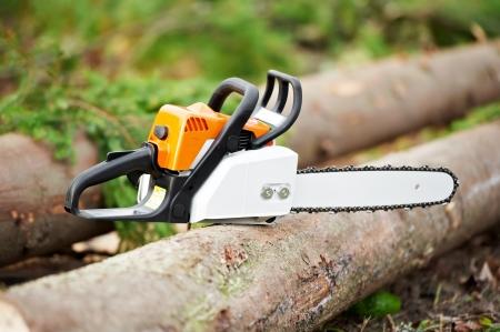 木こり作業ツール ガソリン チェーンソー 写真素材