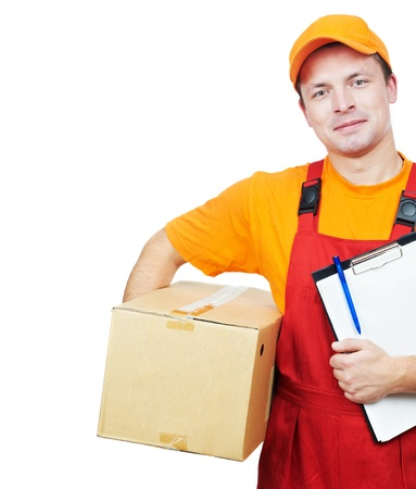 dispatch: delivery man courier with parcel cardboard box