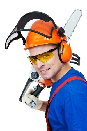 power saw: Lumberjack Worker With Chainsaw Isolated