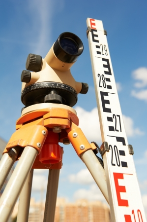 land surveying: surveyor equipment outdoors