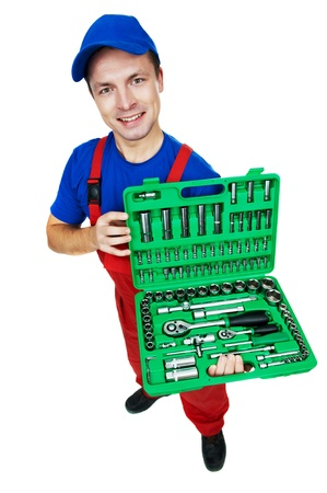 automobile mechanic with Socket Wrench Set Stock Photo - 11304769
