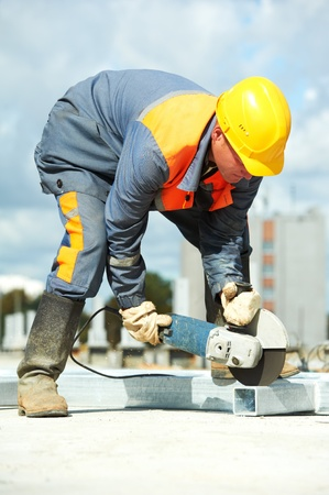 builder working with cutting grinder Stock Photo - 11304888