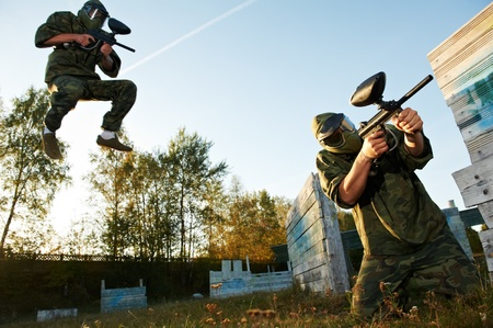 paintball player under attack photo